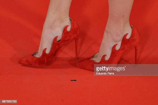 Actress Blanca Suarez shoes detail attends the 'El Jardin del Miguel Angel' party photocall at Miguel Angel hotel on May 24 2017 in Madrid Spain