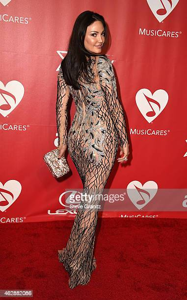 Actress Bleona Qereti attends the 25th anniversary MusiCares 2015 Person Of The Year Gala honoring Bob Dylan at the Los Angeles Convention Center on...