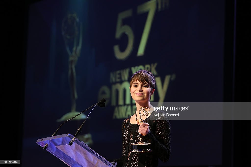 Actress Blue Bloods CBS Sami Gayle presents an award at the 57th Annual New York Emmy awards at Marriott Marquis Times Square on March 30 2014 in New...
