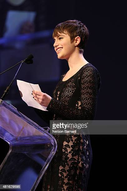 Actress Blue Bloods CBS Sami Gayle speaks on stage at the 57th Annual New York Emmy awards at Marriott Marquis Times Square on March 30 2014 in New...