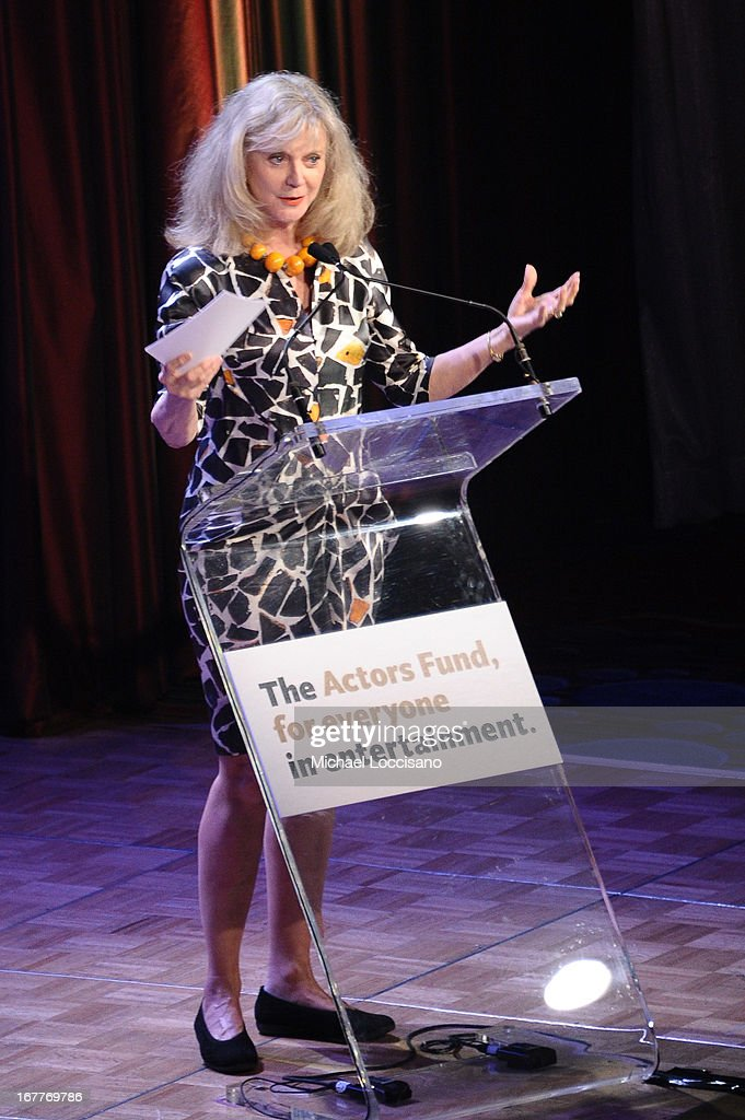 Actress <a gi-track='captionPersonalityLinkClicked' href=/galleries/search?phrase=Blythe+Danner&family=editorial&specificpeople=171210 ng-click='$event.stopPropagation()'>Blythe Danner</a> speaks at the 2013 Actors Fund's Annual Gala Honoring Robert De Niro at The New York Marriott Marquis on April 29, 2013 in New York City.