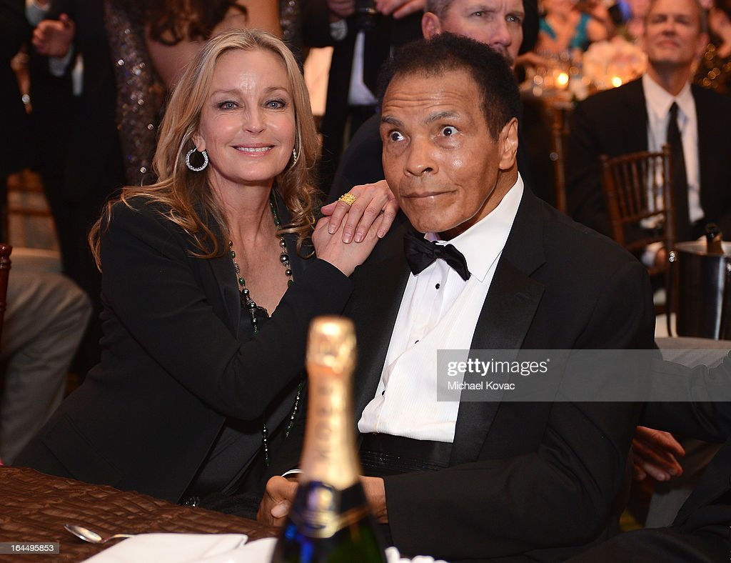 Actress <a gi-track='captionPersonalityLinkClicked' href=/galleries/search?phrase=Bo+Derek&family=editorial&specificpeople=204653 ng-click='$event.stopPropagation()'>Bo Derek</a> and Muhammad Ali with Moet & Chandon at Celebrity Fight Night XIX at JW Marriott Desert Ridge Resort & Spa on March 23, 2013 in Phoenix, Arizona.
