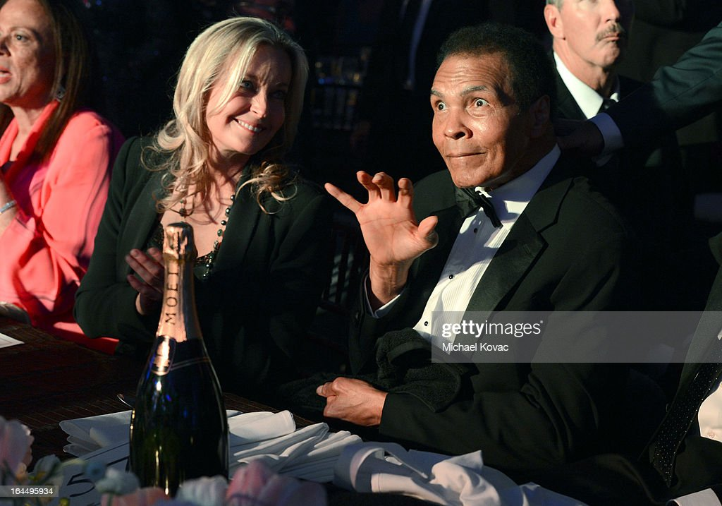 Actress Bo Derek and Muhammad Ali with Moet & Chandon at Celebrity Fight Night XIX at JW Marriott Desert Ridge Resort & Spa on March 23, 2013 in Phoenix, Arizona.