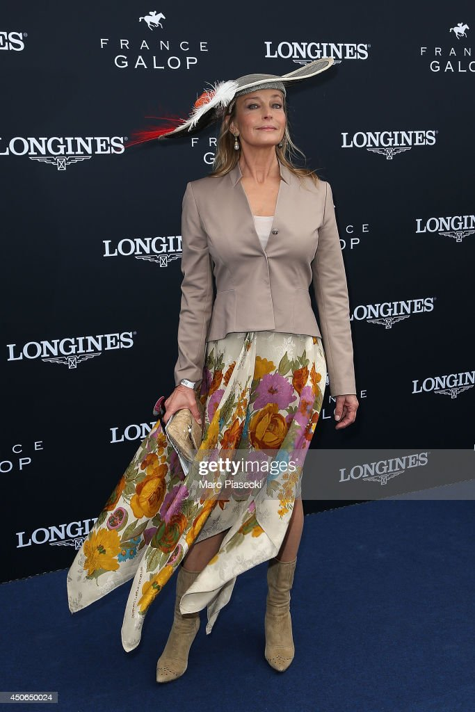 Actress <a gi-track='captionPersonalityLinkClicked' href=/galleries/search?phrase=Bo+Derek&family=editorial&specificpeople=204653 ng-click='$event.stopPropagation()'>Bo Derek</a> attends the 'Prix de Diane Longines 2014' at Hippodrome de Chantilly on June 15, 2014 in Chantilly, France.