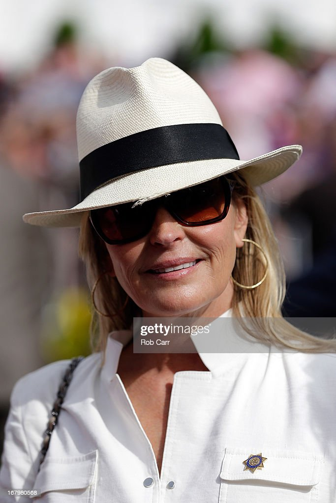 Actress Bo Derek stands in the paddock prior to the 139th running of the Kentucky Oaks at Churchill Downs on May 3, 2013 in Louisville, Kentucky.