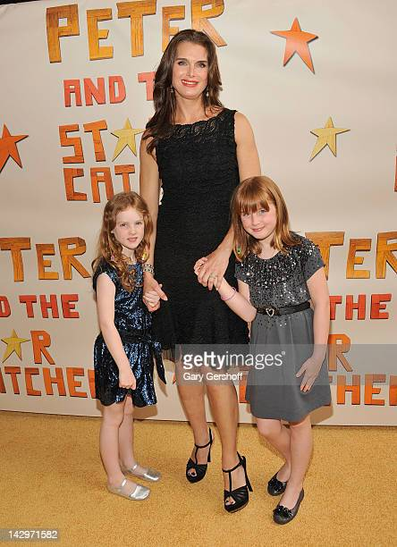 Actress Booke Shields and daughters Rowan Henchy and Grier Henchy attend the opening night of 'Peter and the Starcatcher' on Broadway at The Brooks...