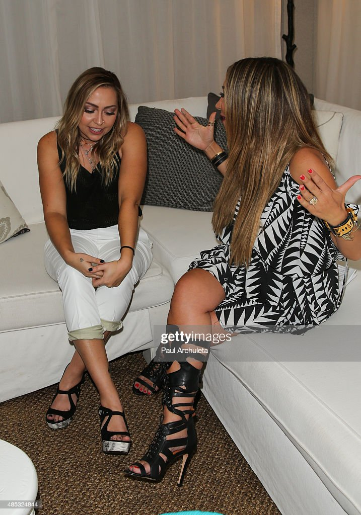 Actress Brandi Cyrus and Entertainment Reporter Diana Madison attend Sabo Skirt's 2015 PreVMA Party at SkyBar at the Mondrian Los Angeles on August...