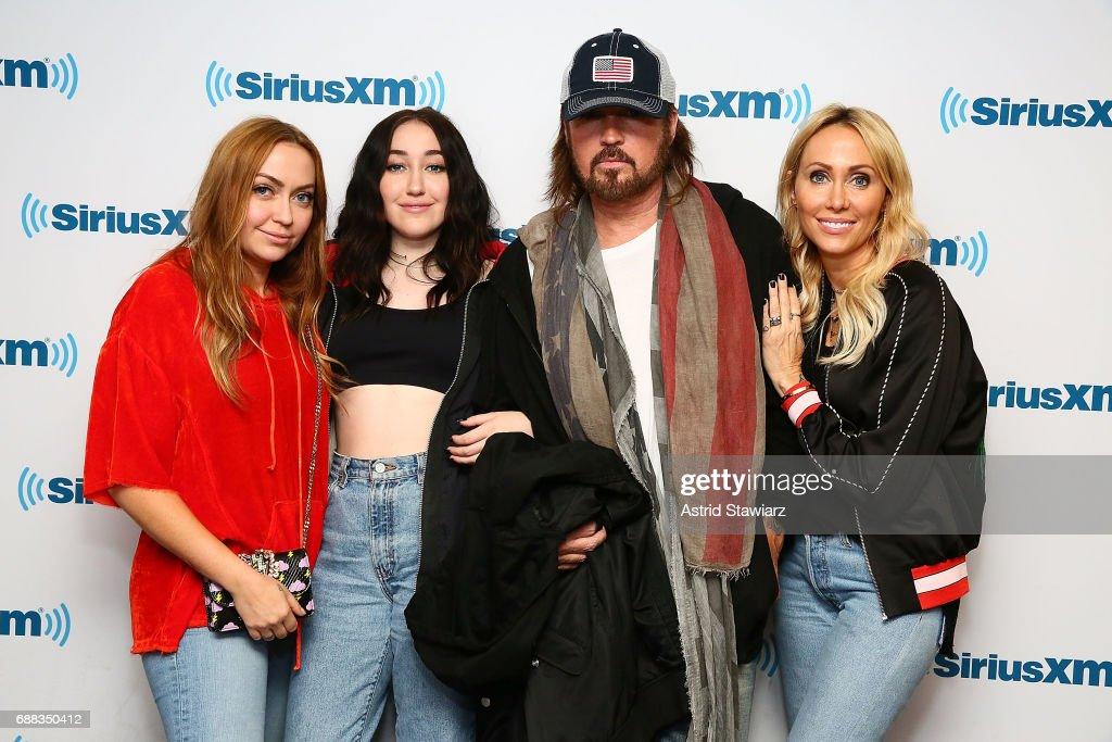 Actress Brandi Cyrus, singers Noah Cyrus, Billy Ray Cyrus and Tish Cyrus visit the SiriusXM Studios on May 25, 2017 in New York City.