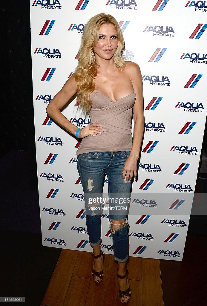 Actress Brandi Glanville attends a private event at Hyde Lounge for the Bruno Mars & Ellie Goulding concert hosted by AQUAhydrate at The Staples Center on July 27, 2013 in Los Angeles, California.