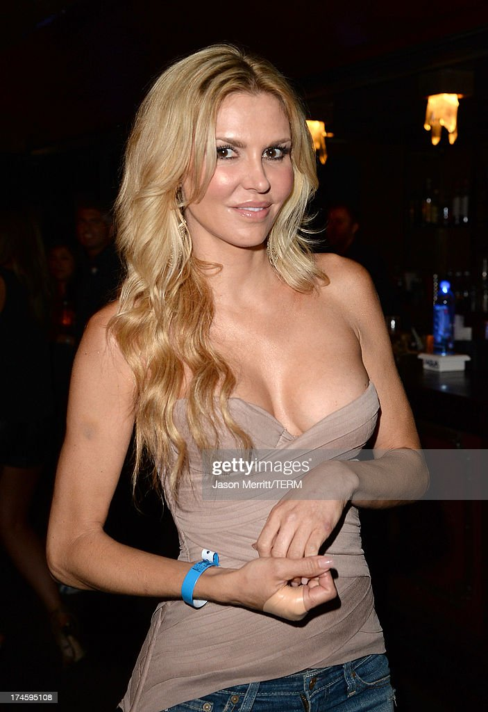 Actress <a gi-track='captionPersonalityLinkClicked' href=/galleries/search?phrase=Brandi+Glanville&family=editorial&specificpeople=841250 ng-click='$event.stopPropagation()'>Brandi Glanville</a> attends a private event at Hyde Lounge for the Bruno Mars & Ellie Goulding concert hosted by AQUAhydrate at The Staples Center on July 27, 2013 in Los Angeles, California.
