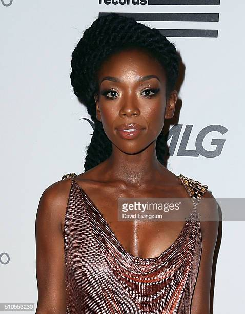 Actress Brandy attends Republic Records Private GRAMMY Celebration at HYDE Sunset Kitchen Cocktails on February 15 2016 in West Hollywood California
