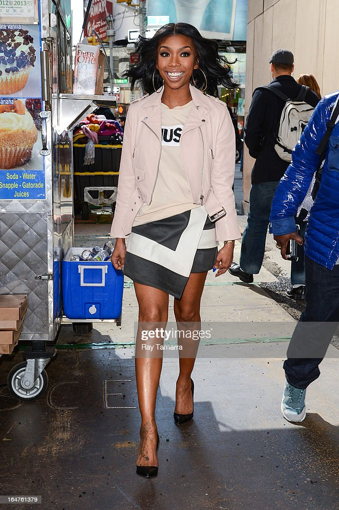 Actress Brandy Norwood leaves the 'Big Morning Buzz' taping at the VH1 Studios on March 27, 2013 in New York City.