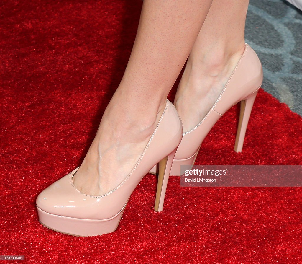 Actress Breann Johnson (shoe detail) attends a screening of Integrity Film Production's 'Red Wing' at Harmony Gold Theatre on August 6, 2013 in Los Angeles, California.