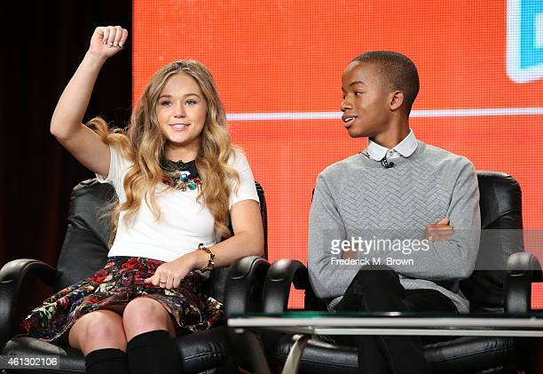 Actress Brec Bassinger and Coy Stewart speak onstage during the 'Bella and the Bulldogs ' panel at the Nickelodeon portion of the 2015 Winter...