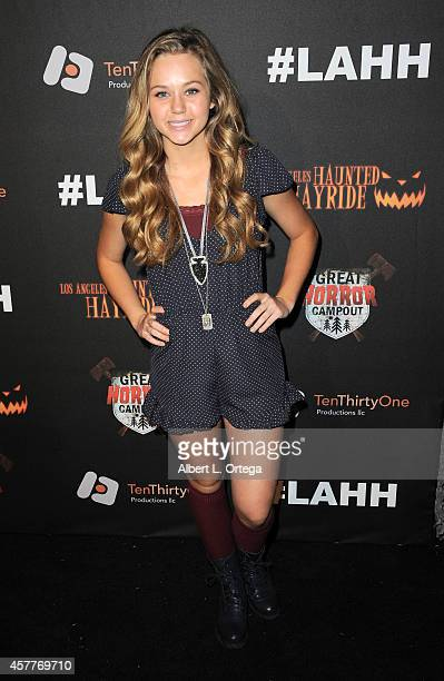 Actress Brec Bassinger arrives for the Los Angeles Haunted Hayride held at Griffith Park on October 9 2014 in Los Angeles California