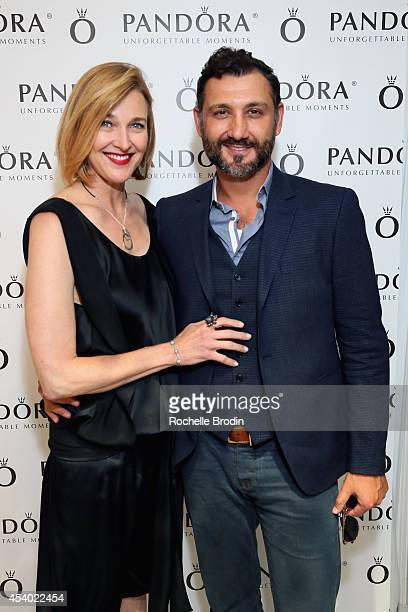 Actress Brenda Strong and Director John FarmaneshBocca attend the HBO Luxury Lounge featuring PANDORA at Four Seasons Hotel Los Angeles at Beverly...