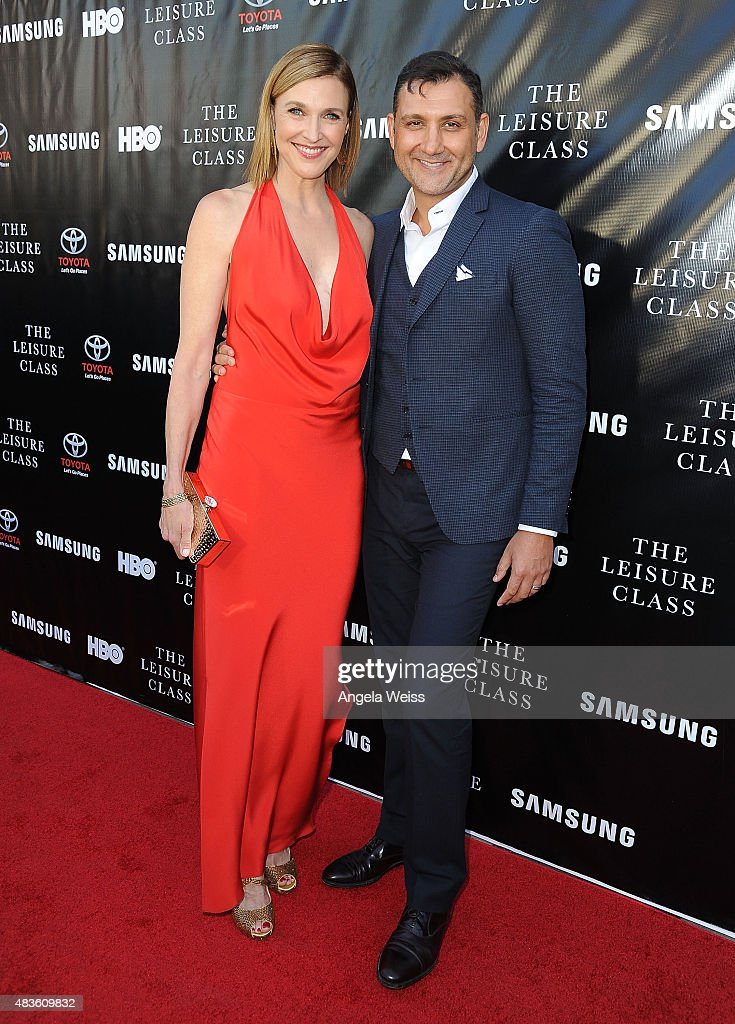 Actress Brenda Strong and her husband, John Farmanesh-Bocca attend the Project Greenlight Season 4 Winning Film premiere 'The Leisure Class' presented by Matt Damon, Ben Affleck, Adaptive Studios and HBO at The Theatre at Ace Hotel on August 10, 2015 in Los Angeles, California.