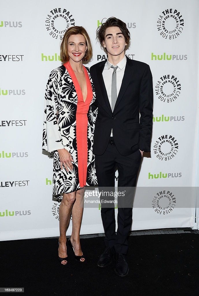 Actress <a gi-track='captionPersonalityLinkClicked' href=/galleries/search?phrase=Brenda+Strong&family=editorial&specificpeople=202892 ng-click='$event.stopPropagation()'>Brenda Strong</a> (L) and her son Zak Henri arrive at the 30th Annual PaleyFest: The William S. Paley Television Festival featuring 'Dallas' at Saban Theatre on March 10, 2013 in Beverly Hills, California.