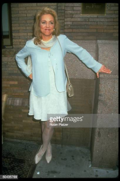 Actress Brett Butler pausing outside beside building while attending ABC party