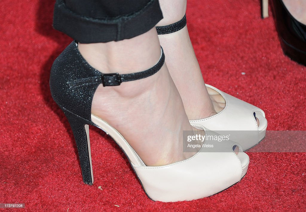Actress Briana Cuoco (shoe detail) arrives at the 'Angel's Perch' West Coast Premiere at Laemmle's Royal Theatre on July 17, 2013 in Los Angeles, California.