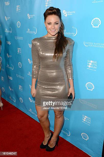 Actress Briana Evigan joins mPowering Action a global mobile youth movement at Grammy Week launch featuring performances by Timbaland and Avicii at...