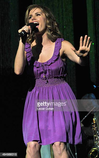 Actress Brianna Brown performs onstage during the What A Pair Benefit Concert to support breast cancer research education programs at the CedarsSinai...