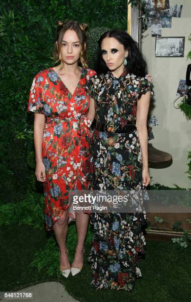 Actress Bridget Lundy Paine and designer Stacey Bendet pose for a picture during Alice Olivia By Stacey Bendet fashion show New York Fashion Week The...