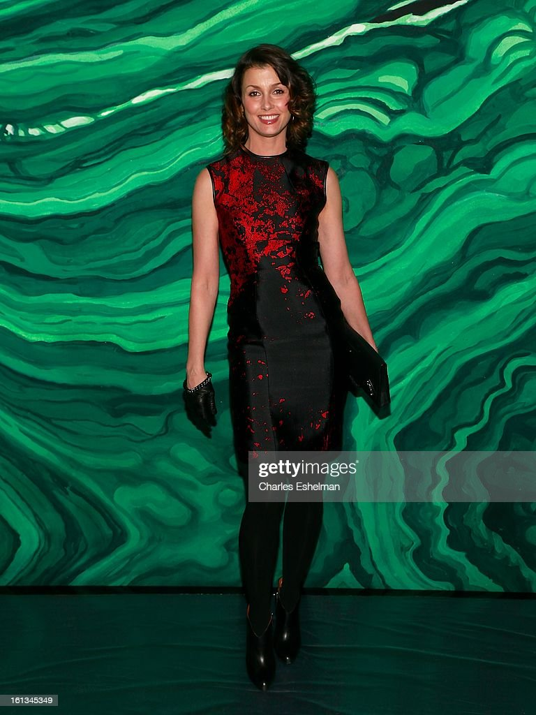 Actress Bridget Moynahan attends the Monique Lhuillier Fall 2013 Mercedes-Benz Fashion Show at The Theater at Lincoln Center on February 9, 2013 in New York City.