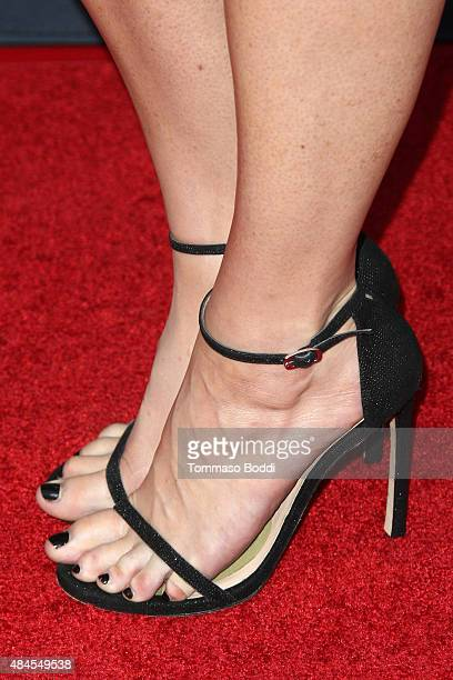 Actress Bridget Regan shoe detail attends the premiere of Amazon's series 'Hand Of God' held at the Ace Theater Downtown LA on August 19 2015 in Los...