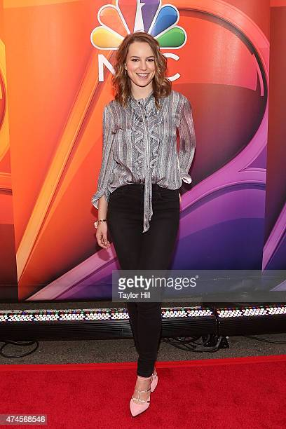 Actress Bridgit Mendler attends the 2015 NBC upfront presentation red carpet event at Radio City Music Hall on May 11 2015 in New York City