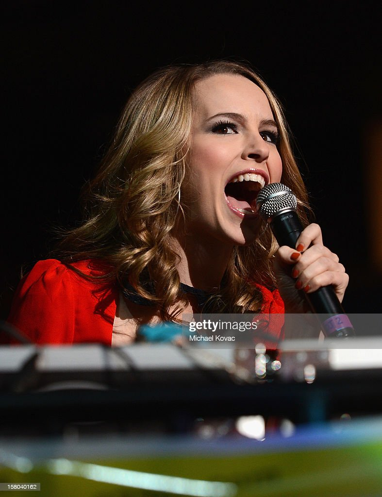 Actress Bridgit Mendler speaks onstage during 93.3 FLZ's Jingle Ball 2012 at Tampa Bay Times Forum on December 9, 2012 in Tampa, Florida.