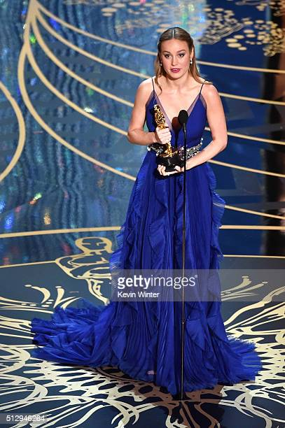 Actress Brie Larson accepts the Best Actress award for 'Room' during the 88th Annual Academy Awards at the Dolby Theatre on February 28 2016 in...
