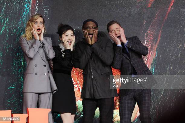Actress Brie Larson actress Jing Tian actor Samuel L Jackson and actor Tom Hiddleston attend the press conference of film 'Kong Skull Island ' at...