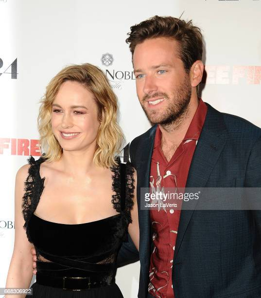 Actress Brie Larson and actor Armie Hammer attend the premiere of 'Free Fire' at ArcLight Hollywood on April 13 2017 in Hollywood California