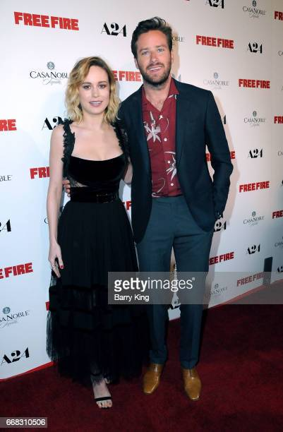 Actress Brie Larson and actor Armie Hammer attend the premiere of A24's' 'Free Fire' at ArcLight Hollywood on April 13 2017 in Hollywood California