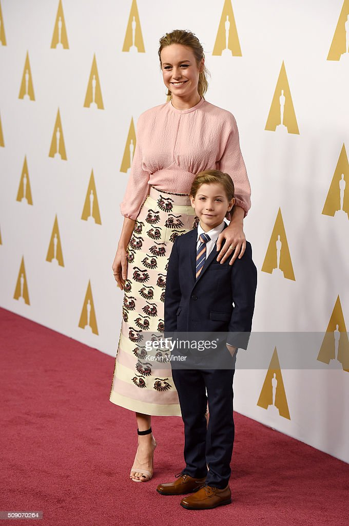 Actress Brie Larson and actor Jacob Tremblay attend the 88th Annual Academy Awards nominee luncheon on February 8 2016 in Beverly Hills California