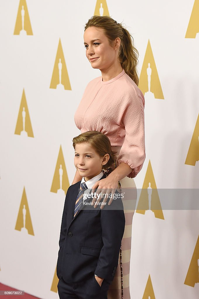 Actress <a gi-track='captionPersonalityLinkClicked' href=/galleries/search?phrase=Brie+Larson&family=editorial&specificpeople=171226 ng-click='$event.stopPropagation()'>Brie Larson</a> (L) and actor <a gi-track='captionPersonalityLinkClicked' href=/galleries/search?phrase=Jacob+Tremblay&family=editorial&specificpeople=11194896 ng-click='$event.stopPropagation()'>Jacob Tremblay</a> attend the 88th Annual Academy Awards nominee luncheon on February 8, 2016 in Beverly Hills, California.