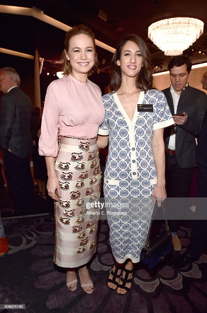 Actress <a gi-track='captionPersonalityLinkClicked' href=/galleries/search?phrase=Brie+Larson&family=editorial&specificpeople=171226 ng-click='$event.stopPropagation()'>Brie Larson</a> (L) and director/screenwriter Deniz Gamze Erguven attend the 88th Annual Academy Awards nominee luncheon on February 8, 2016 in Beverly Hills, California.