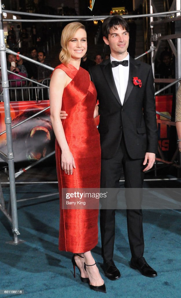 Actress Brie Larson and musician/singer Alex Greenwald arrive for the Premiere of Warner Bros. Pictures' 'Kong: Skull Island' at Dolby Theatre on March 8, 2017 in Hollywood, California.