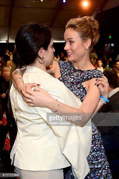 Actress Brie Larson and Paramount EVP Elizabeth Raposo attend the 2016 Film Independent Spirit Awards on February 27 2016 in Santa Monica California