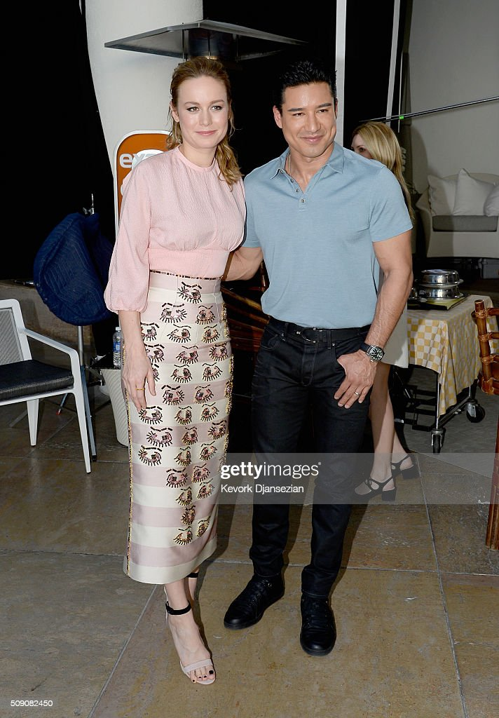 Actress Brie Larson and TV personality Mario Lopez attend the 88th Annual Academy Awards nominee luncheon on February 8, 2016 in Beverly Hills, California.