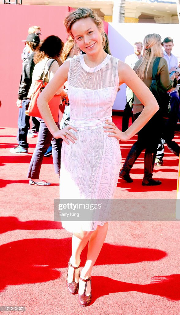Actress <a gi-track='captionPersonalityLinkClicked' href=/galleries/search?phrase=Brie+Larson&family=editorial&specificpeople=171226 ng-click='$event.stopPropagation()'>Brie Larson</a> arrives at the Los Angeles premiere of 'The Lego Movie' held on February 1, 2014 at Regency Village Theatre in Westwood, California.