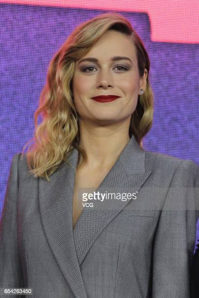 Actress Brie Larson attends the press conference of film 'Kong Skull Island ' at China World Trade Center Tower III on March 16 2017 in Beijing China