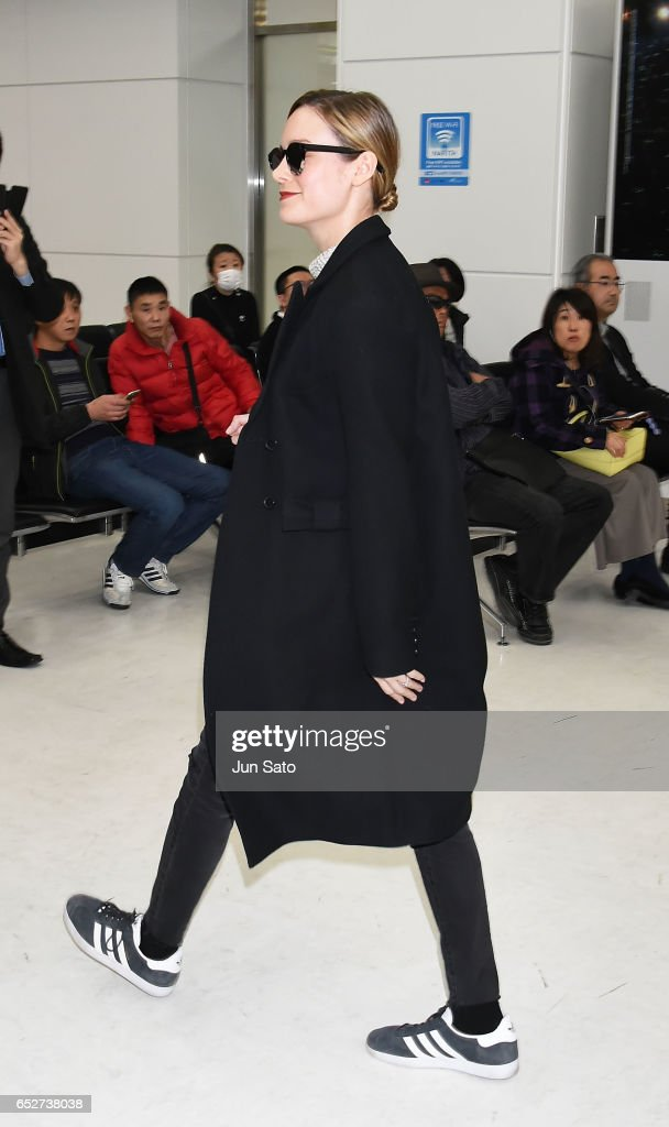 Actress Brie Larson is seen upon arrival at Narita International Airport on March 13, 2017 in Narita, Japan.