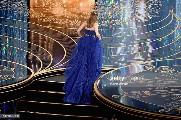 Actress Brie Larson walks onstage to accept the Best Actress award for 'Room' during the 88th Annual Academy Awards at the Dolby Theatre on February...