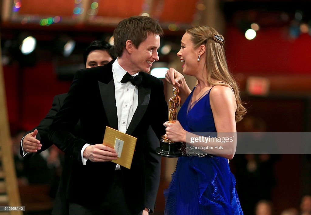 Actress Brie Larson (R), winner of Best Actress for 'Room,' and actor Eddie Redmayne onstage at the 88th Annual Academy Awards at Dolby Theatre on February 28, 2016 in Hollywood, California.