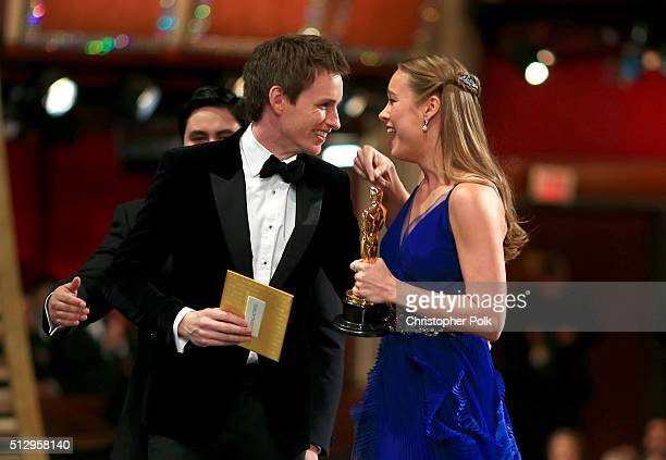 Actress Brie Larson winner of Best Actress for 'Room' and actor Eddie Redmayne onstage at the 88th Annual Academy Awards at Dolby Theatre on February...