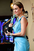 Actress Brie Larson winner of Outstanding Performance By a Female Actor in a Leading Role for 'Room' poses in the press room during the 22nd Annual...