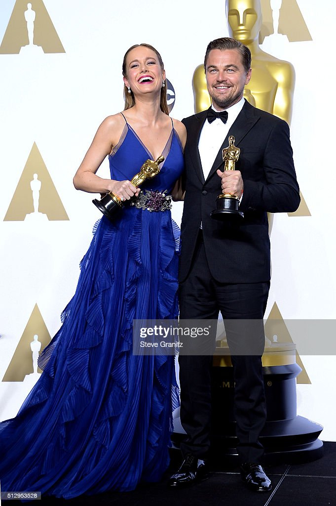 Actress Brie Larson winner of the award for Best Actress in a Leading Role for 'Room' and actor Leonardo DiCaprio winner of the award for Best Actor...