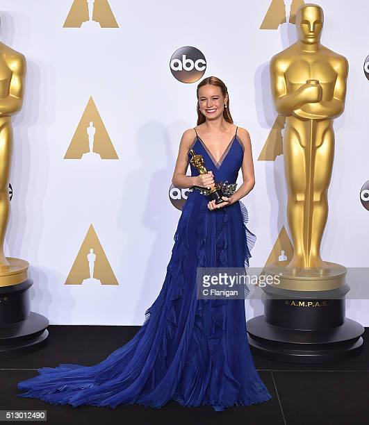 Actress Brie Larson winner of the award for Best Actress in a Leading Role for 'Room' poses in the press room during the 88th Annual Academy Awards...